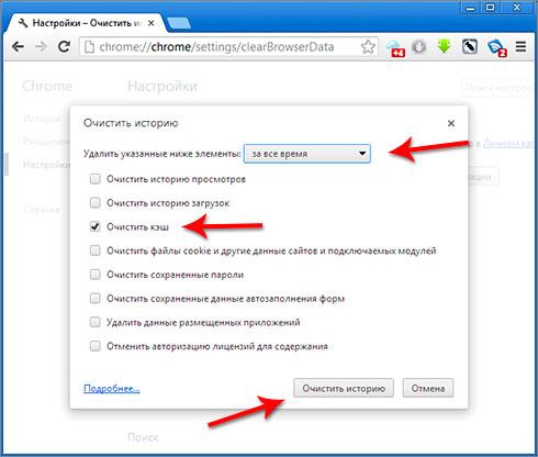 Очистить кеш браузера дляGoogle Chrome