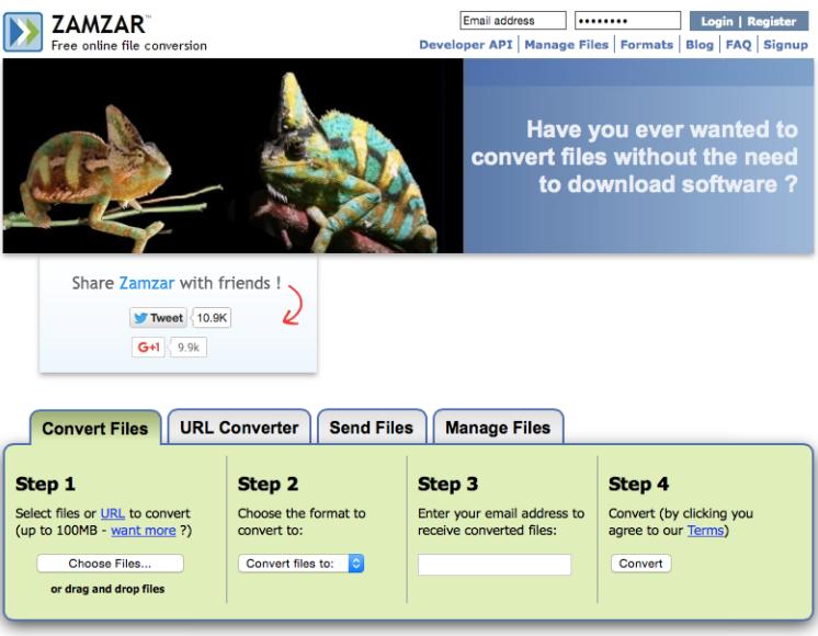 Zamzar онлайн-конвертер